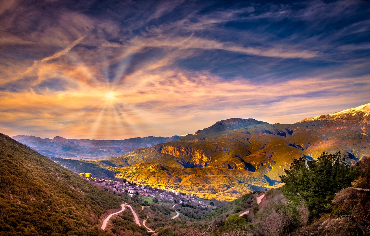 wzgórza Grecji wiosną